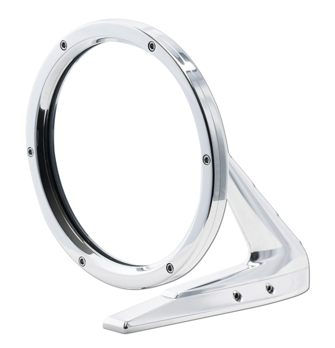 (1947-98)  Outside Mirror Assembly-Round Polished W/Fastners ea.